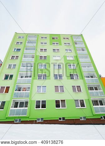 Modern Thermal Insulation Of The Facade. Cheap Housing.. Universal Basic Cheap Flats Building Skyscr