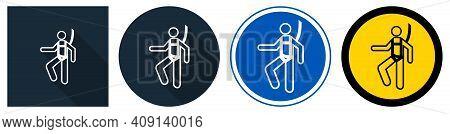 Symbol Wear Safety Harness Sign On Black Background,vector Illustration