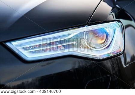 Grodno, Belarus - December 2019: Audi A6 4g C7 Luxury Black Car Parts Left Front Headlight And Fog L