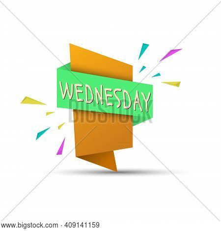 Wednesday. Colored Banner With The Name Of The Day Of The Week. Stock Vector Illustration