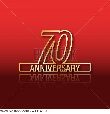 70 Anniversary. Stylized Gold Lettering With Reflection On A Red Gradient Background. Vector Illustr