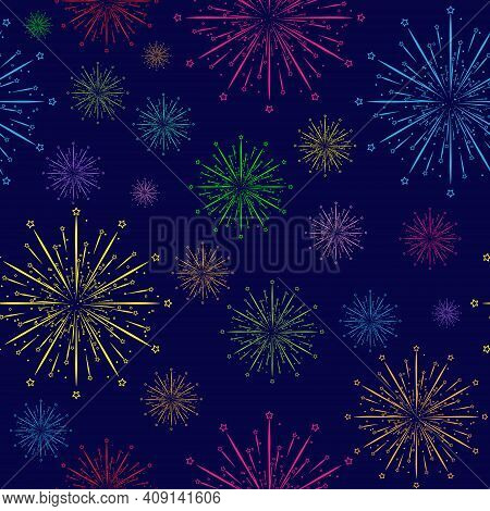 Colored Fireworks. Seamless Background With Colorful Fireworks For Banners, Posters, Postcards, Text