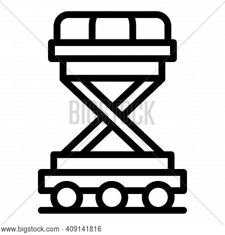 Baggage Plane Trolley Icon. Outline Baggage Plane Trolley Vector Icon For Web Design Isolated On Whi