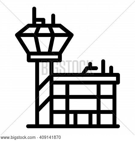 Plane Tower Control Icon. Outline Plane Tower Control Vector Icon For Web Design Isolated On White B