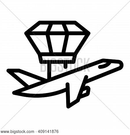 Control Tower And Plane Icon. Outline Control Tower And Plane Vector Icon For Web Design Isolated On