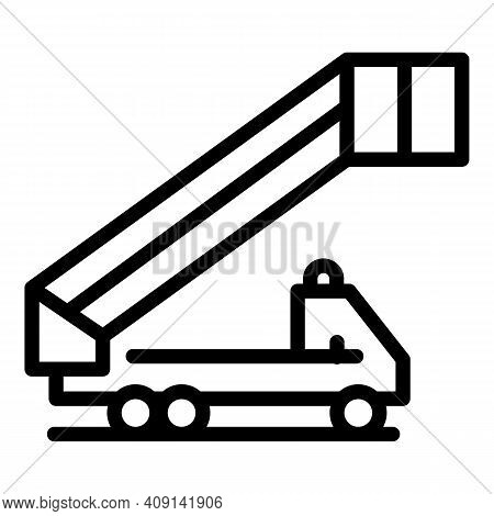 Vehicle Airport Ladder Icon. Outline Vehicle Airport Ladder Vector Icon For Web Design Isolated On W