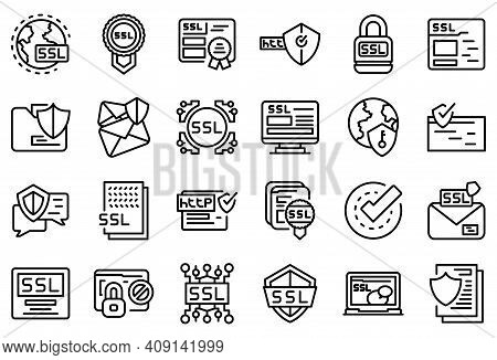 Ssl Certificate Icons Set. Outline Set Of Ssl Certificate Vector Icons For Web Design Isolated On Wh