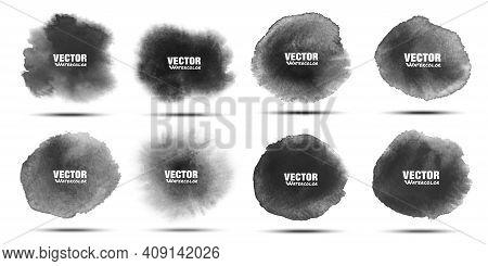 Black Watercolor Stain Set. Aquarelle Dark Grey Spots. Circular Watercolor Stains. Vector Illustrati