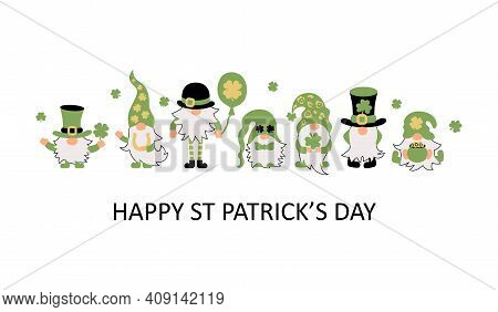 Irish Gnomes With Clovers, Pot Of Gold And Horseshoe. Great For T-shirt Design, Invitation, St Patri
