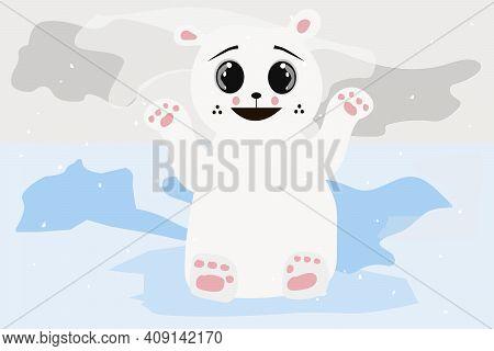 A Polar Polar Bear With Cute Face In The Snow