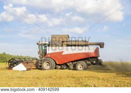 Old Combine Harvests From The Field. Summer Coumty Job