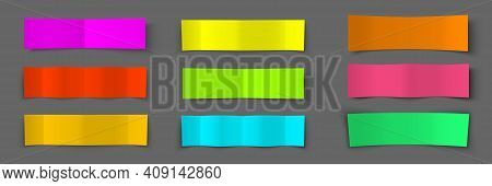 Text Box. Paper Colorful Banners Set. Shadow Effect. Bending Paper Template. Vector Illustration