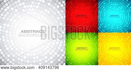 Circular Bright Backgrounds Set. Techno Gradient Background. Abstract Circle Colorful Frame.vector I