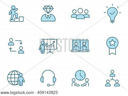 Teamwork Outline Vector Icons In Two Colors Isolated On White. Teamwork Blue Icon Set For Web And Ui