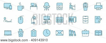 Workspace Linear Vector Icons In Two Colors Isolated On White Background. Workspace Blue Icon Set Fo