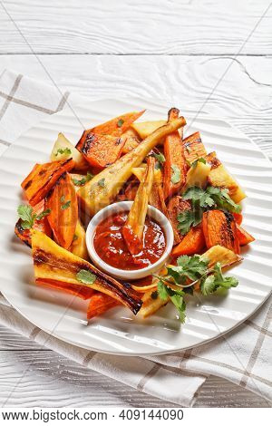 Sunday Roast Dinner: Roasted Parsnip And Carrot With Ras El Hanout Spice: Cinnamon, Turmeric, Anise