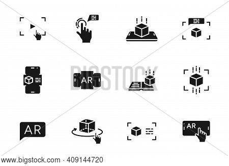 Augmented Reality Glyph Vector Icons Isolated On White. Augmented And Virtual Reality Icon Set For W