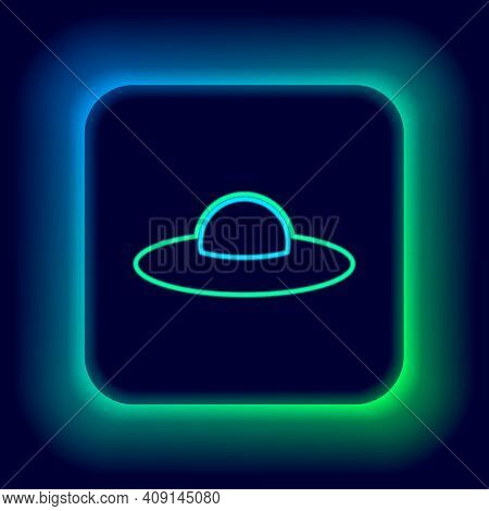 Glowing Neon Line Ufo Flying Spaceship Icon Isolated On Black Background. Flying Saucer. Alien Space