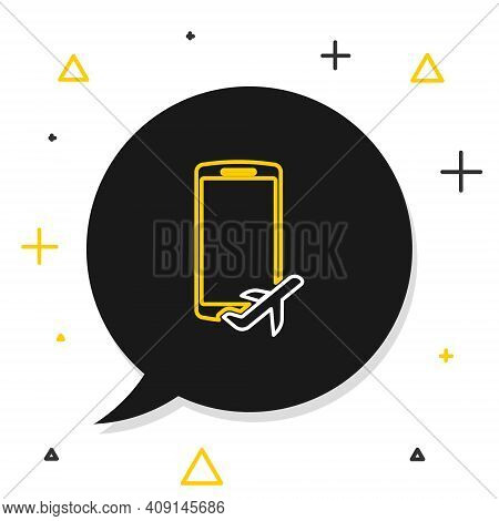 Line Flight Mode In The Mobile Phone Icon Isolated On White Background. Airplane Or Aeroplane Flight