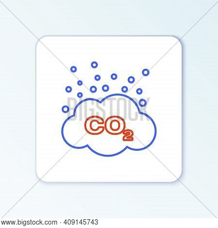 Line Co2 Emissions In Cloud Icon Isolated On White Background. Carbon Dioxide Formula Symbol, Smog P