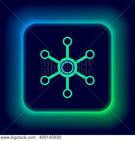 Glowing Neon Line Network Icon Isolated On Black Background. Global Network Connection. Global Techn