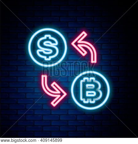 Glowing Neon Line Processor Chip With Dollar Icon Isolated On Brick Wall Background. Cpu, Central Pr