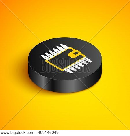 Isometric Line Cryptocurrency Wallet Icon Isolated On Yellow Background. Wallet And Bitcoin Sign. Mi