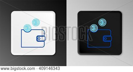 Line Cryptocurrency Wallet Icon Isolated On Grey Background. Wallet And Bitcoin Sign. Mining Concept