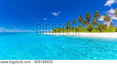 Beach Nature Concept. Palm Trees Beach In Tropical Idyllic Paradise Island. Exotic Relax Landscape F