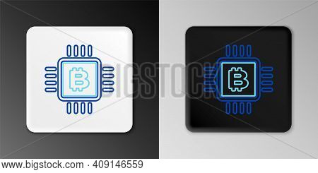 Line Cpu Mining Farm Icon Isolated On Grey Background. Bitcoin Sign Inside Microchip. Cryptocurrency