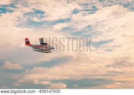 Fesdhu, Maldives - November 9 2019: A Dhc-6 Seaplane Twin Otter Airplane Of Trans Maldivian Airways