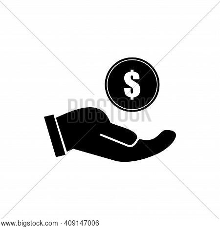 Money In Hand Sign Line Icon Or Logo. Save Money Or Salary Money Concept. Two Hands Holding Dollar I