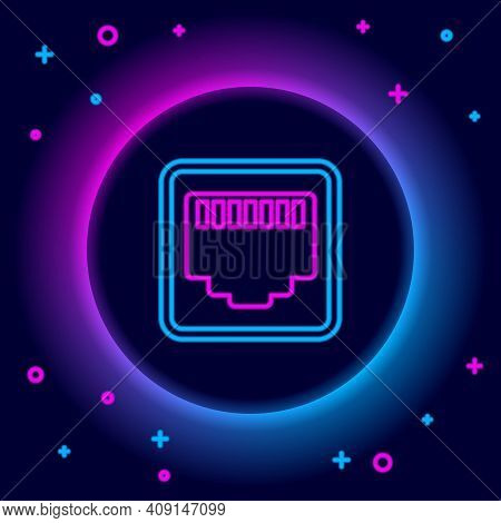 Glowing Neon Line Network Port - Cable Socket Icon Isolated On Black Background. Lan, Ethernet Port
