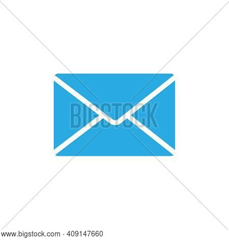 Flat Icon Of Unread Message In Blue Color Vector Illustration