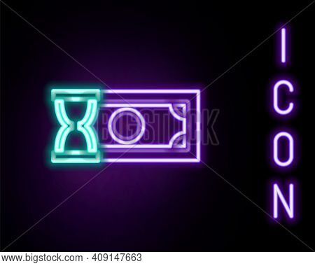 Glowing Neon Line Fast Payments Icon Isolated On Black Background. Fast Money Transfer Payment. Fina