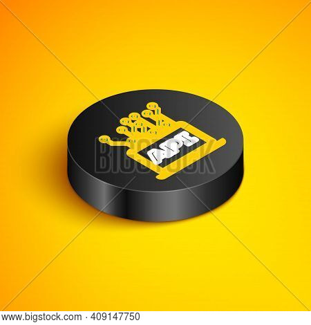 Isometric Line Computer Api Interface Icon Isolated On Yellow Background. Application Programming In