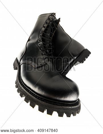 Ultra Wide Angle View On Pair Of Black Leather 10-inch New Military Combat Boots, Isolated On White