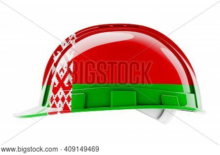 Hard Hat With Belarusian Flag, 3d Rendering Isolated On White Background