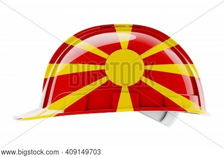 Hard Hat With Macedonian Flag, 3d Rendering Isolated On White Background