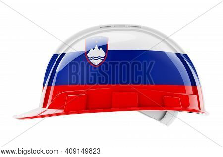 Hard Hat With Slovenian Flag, 3d Rendering Isolated On White Background