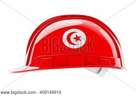 Hard Hat With Tunisian Flag, 3d Rendering Isolated On White Background