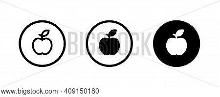 Apple Vector Icon. Apple Fruit Icons Button, Vector, Sign, Symbol, Logo, Illustration, Editable Stro
