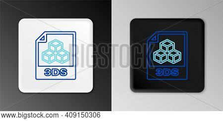 Line 3ds File Document. Download 3ds Button Icon Isolated On Grey Background. 3ds File Symbol. Color