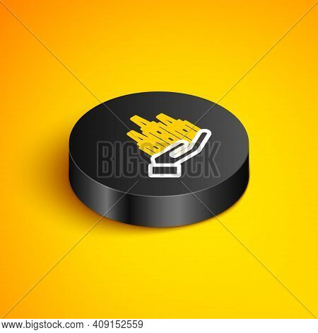 Isometric Line Skyscraper Icon Isolated On Yellow Background. Metropolis Architecture Panoramic Land