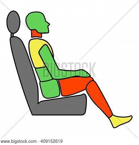 Template Figure Man Sitting In A Car Passenger. Crash Test. Sign. Profile View. Vector Illustration