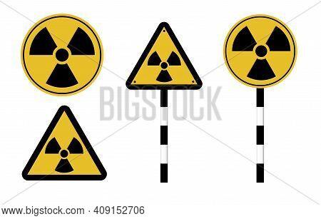 Danger Attention Sign. Warning. Radiation Hazard. Vector Illustration.