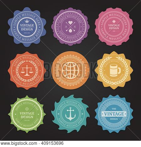 Stickers With Shabby Vintage Vector Labels Set