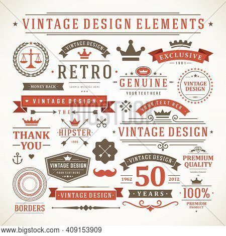 Vintage Labels And Badges Design Elements Vector With Typographic Symbols