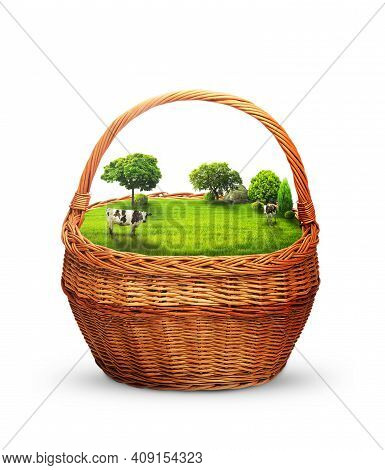 Glade And Green Meadow In The Basket. Cows In The Meadow. Milk. Trees And Cows On A Green Meadow. 3d