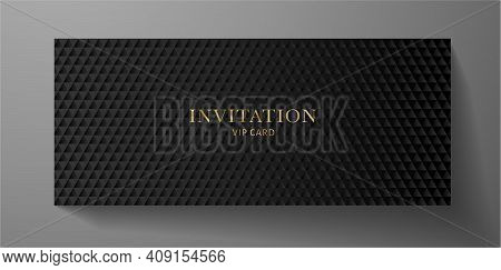 Premium Vip Invitation Template With Abstract Black Triangle Pattern (carbon Texture) On Background.